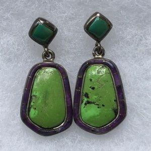 Vintage Turquoise, Gaspeite, Sugrilite Earrings